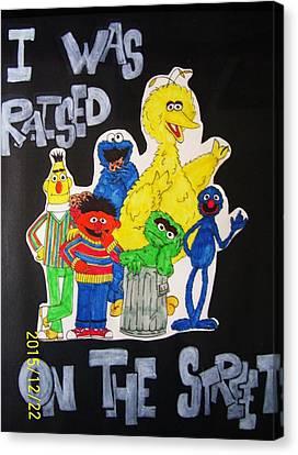 Raised On The Street Canvas Print by Amanda Sparrow