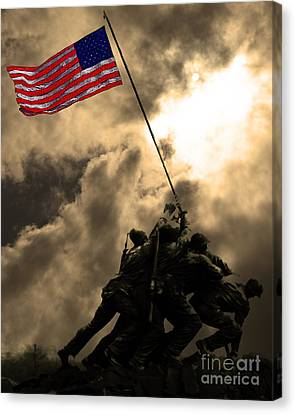 Raising The Flag At Iwo Jima 20130211 Canvas Print by Wingsdomain Art and Photography