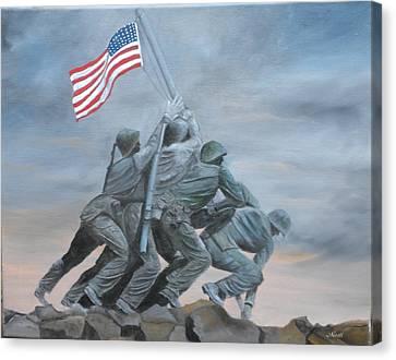 Raising The Flag At Iwo Jima Canvas Print