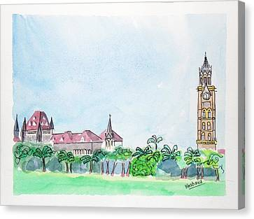 Rajabai Clock Tower And Bombay High Court Canvas Print by Keshava Shukla