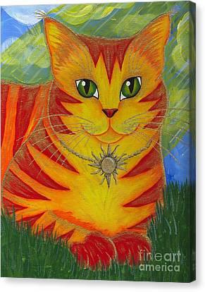Rajah Golden Sun Cat Canvas Print by Carrie Hawks