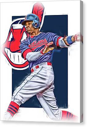 Cleveland Indians Canvas Print - Rajai Davis Cleveland Indians Oil Art by Joe Hamilton