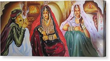 Rajasthani Ladies Canvas Print by Xafira Mendonsa
