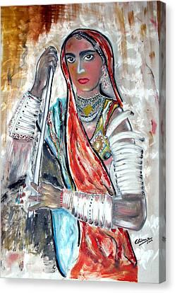 Rajasthani Woman Canvas Print by Narayanan Ramachandran
