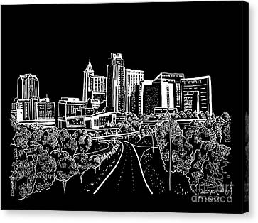 Raleigh Nc White On Dark Background Canvas Print by Robert Yaeger