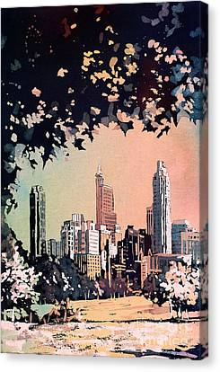 Canvas Print featuring the painting Raleigh Skyline V by Ryan Fox