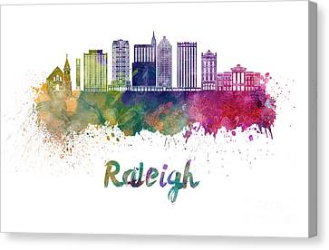 Raleigh V2 Skyline In Watercolor Canvas Print by Pablo Romero