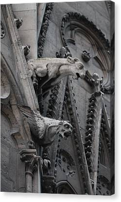 Canvas Print featuring the photograph Ram And Eagle Griffon Notre Dame by Christopher Kirby
