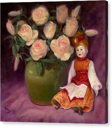 Canvas Print featuring the painting Ramblin Rose by Donelli  DiMaria