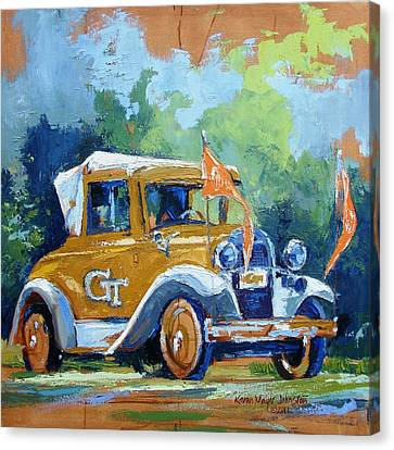 Mascots Canvas Print - Ga Tech Ramblin' Wreck - Part Of College Series by Karen Mayer Johnston