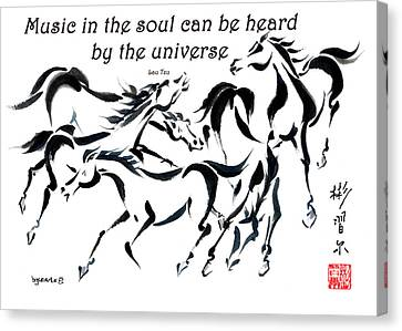 Canvas Print featuring the painting Rambunctious With Lao Tzu Quote I by Bill Searle