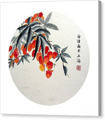 Rambutan - Round Canvas Print by Birgit Moldenhauer