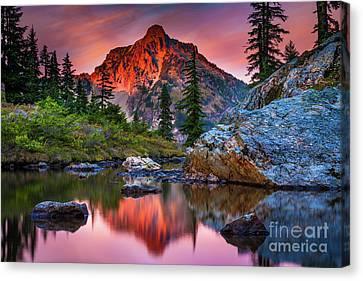 Lake Chelan Canvas Print - Rampart Lakes Tarn by Inge Johnsson