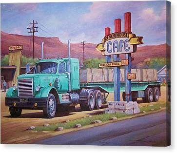 Canvas Print featuring the painting Ranch House Truckstop. by Mike Jeffries