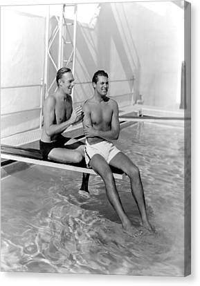 Randolph Scott And Cary Grant Poolside Canvas Print by Everett