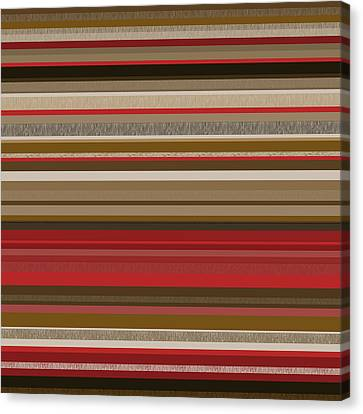 Random Stripes - Red Accents Canvas Print by Val Arie