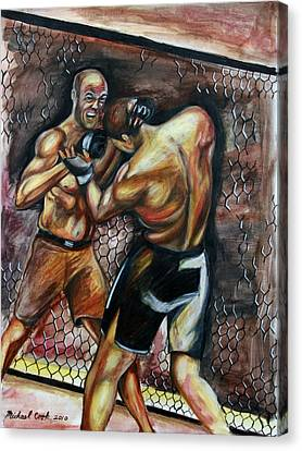 Randy Couture Vs. Gabriel Gonzaga Canvas Print by Michael Cook
