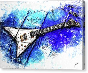 Randy's Guitar On Blue II Canvas Print by Gary Bodnar