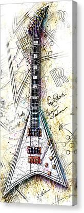 Randy's Guitar Vert 1a Canvas Print by Gary Bodnar