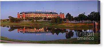 Rangers Ballpark In Arlington At Dusk Canvas Print by Jon Holiday