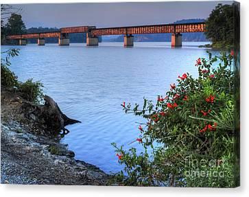 Canvas Print featuring the photograph Rankin Bottoms Rr Bridge by Douglas Stucky