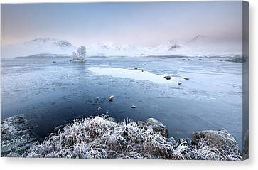 Canvas Print featuring the photograph Black Mount Misty Winter Sunrise by Grant Glendinning