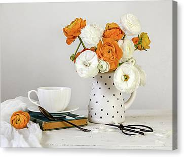 Canvas Print featuring the photograph Ranunculus Bouquet by Kim Hojnacki