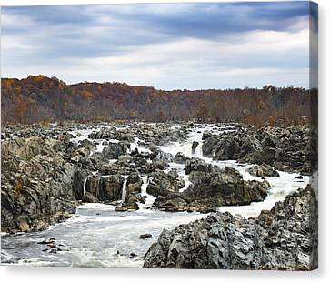 Rapids At Great Falls Park In Autumn Canvas Print