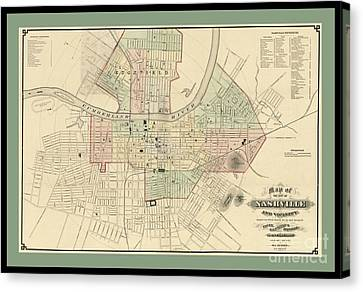 Rare Vintage Map Of Nashville Tennessee Canvas Print