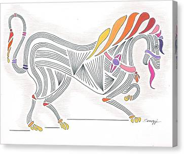 Rarin' To Go -- Stylized Medieval Prancing Horse W/ Rainbow Mane Canvas Print