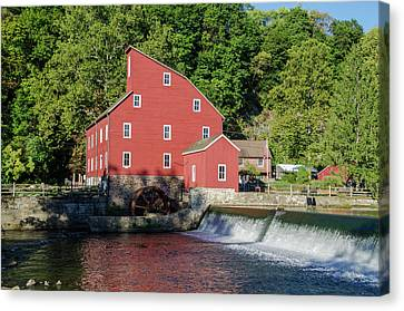 Rariton River And The Red Mill - Clinton New Jersey Canvas Print by Bill Cannon