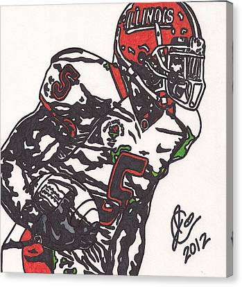 Canvas Print featuring the drawing Rashard Mendenhall 1 by Jeremiah Colley