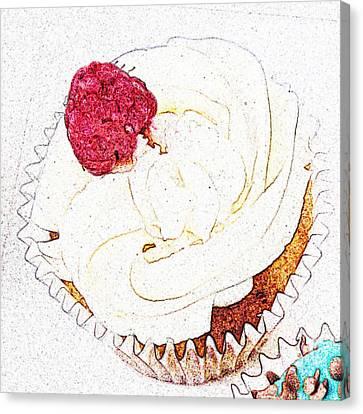 Raspberry Cupcake  Canvas Print by Susan Baker