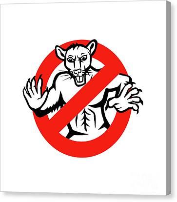 Rat Busted Stop Sign Retro Canvas Print by Aloysius Patrimonio