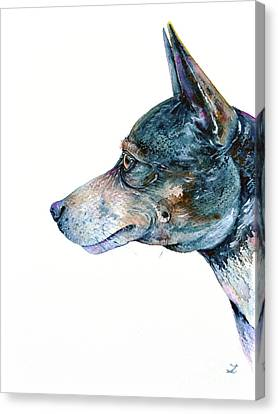 Canvas Print featuring the painting Rat Terrier by Zaira Dzhaubaeva