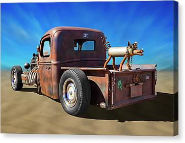 Canvas Print featuring the photograph Rat Truck On Beach 2 by Mike McGlothlen