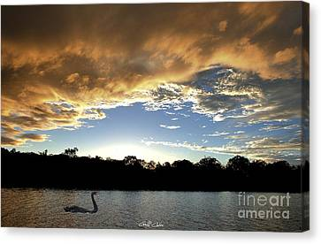 Rathmines Sunset With Swan. Original Exclusive Photo Art. Canvas Print by Geoff Childs