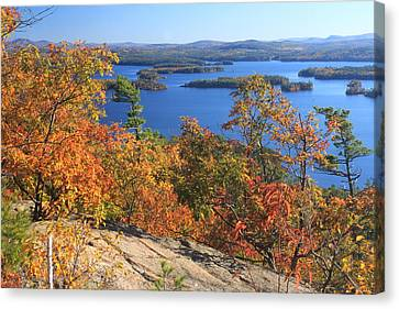 Rattlesnake Cliffs Squam Lake Canvas Print by John Burk