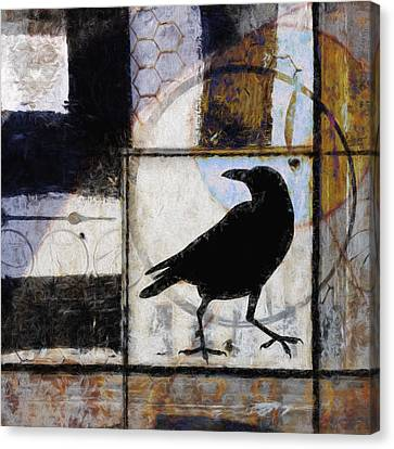 Raven Ahead Of Time Canvas Print by Carol Leigh