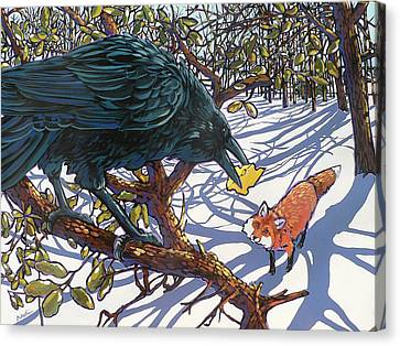Raven And The Fox Canvas Print by Nadi Spencer