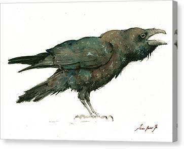 Raven Bird Canvas Print by Juan Bosco