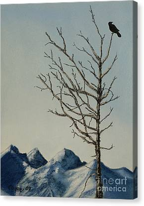Canvas Print featuring the painting Raven Brought Light by Stanza Widen