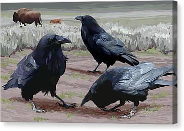 Raven Gathering Canvas Print
