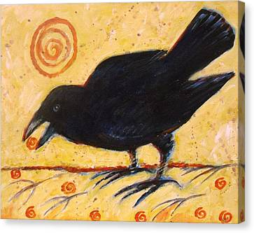 Raven Grazing Canvas Print by Carol Suzanne Niebuhr