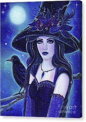 Raven Halloween Witch Canvas Print