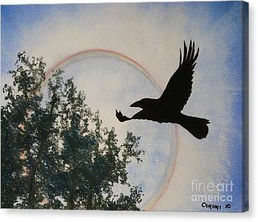 Canvas Print featuring the painting Raven Holds The Sun by Stanza Widen