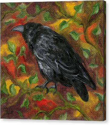 Raven In Autumn Canvas Print
