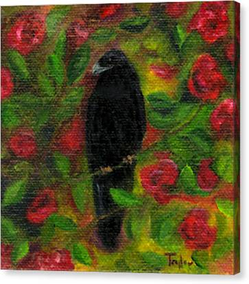 Raven In Roses Canvas Print