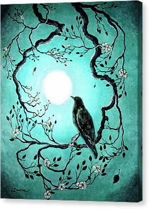 Raven In Teal Canvas Print by Laura Iverson