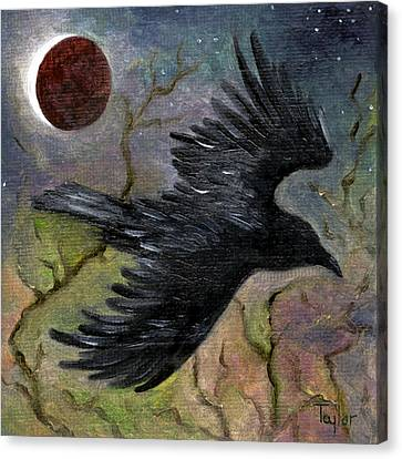 Raven In Twilight Canvas Print